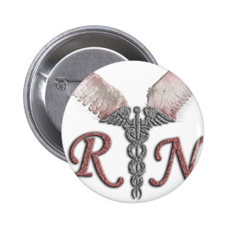 RN Registered Nurse with Angel Wings 6 Cm Round Badge