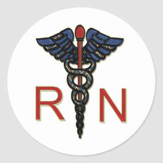 RN With Caduceus Classic Round Sticker