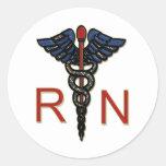 RN With Caduceus Round Stickers