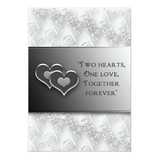 Rnewing Vows - Invitation/Two Hearts - Grey/Silver Card