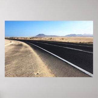 Road across Desert Poster