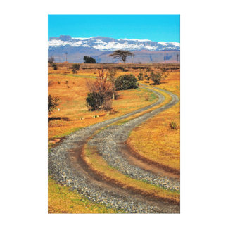 Road And Snow-Capped Cathedral Range, Champagne Stretched Canvas Prints