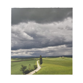Road and storm clouds, rural Tuscany region, Notepad