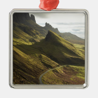 Road ascending The Quiraing, Isle of Skye, Silver-Colored Square Decoration