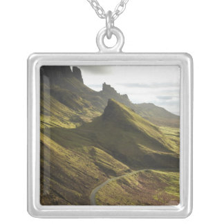 Road ascending The Quiraing, Isle of Skye, Silver Plated Necklace