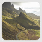 Road ascending The Quiraing, Isle of Skye, Square Sticker