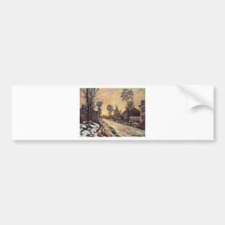 Road at Louveciennes, Melting Snow, Sunset Bumper Sticker