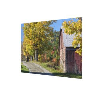 Road beside classic rural barn/farm in autumn, 2 canvas print