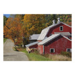 Road beside classic rural barn/farm in autumn, photographic print