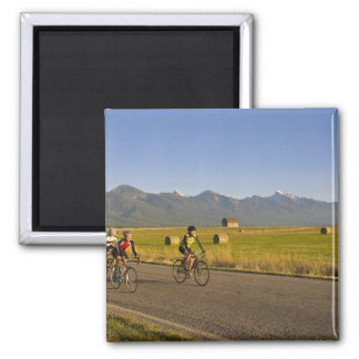 Road bicyclists ride down a back country road magnet