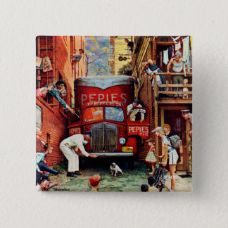 Road Block by Norman Rockwell 15 Cm Square Badge