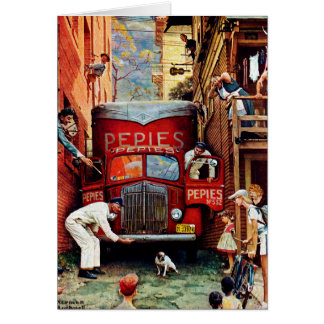 Road Block by Norman Rockwell Card