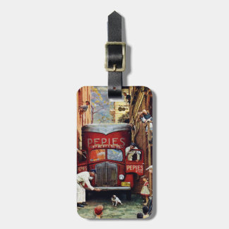 Road Block by Norman Rockwell Luggage Tag