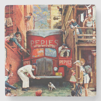 Road Block by Norman Rockwell Stone Beverage Coaster