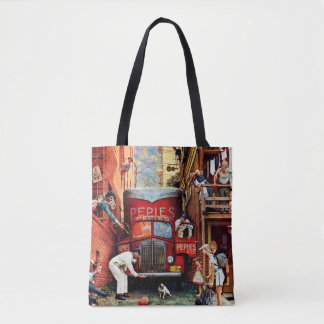 Road Block by Norman Rockwell Tote Bag