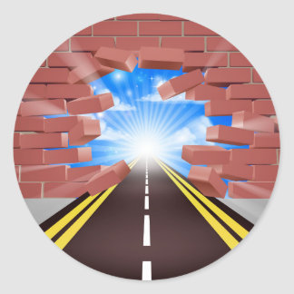 Road Breaking Through Wall Classic Round Sticker