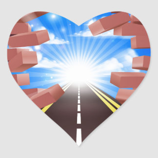 Road Breaking Through Wall Heart Sticker