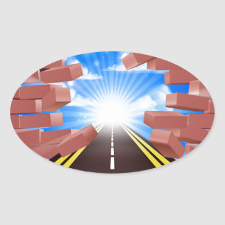 Road Breaking Through Wall Oval Sticker