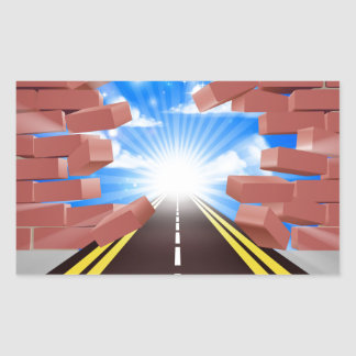 Road Breaking Through Wall Rectangular Sticker