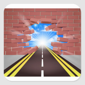 Road Breaking Through Wall Square Sticker