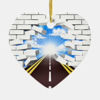 Road Breaking Wall Concept Ceramic Heart Decoration
