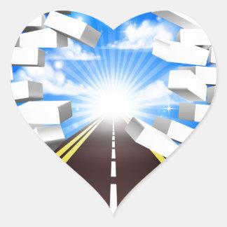 Road Breaking Wall Concept Heart Sticker
