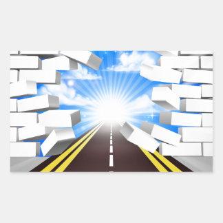 Road Breaking Wall Concept Rectangular Sticker