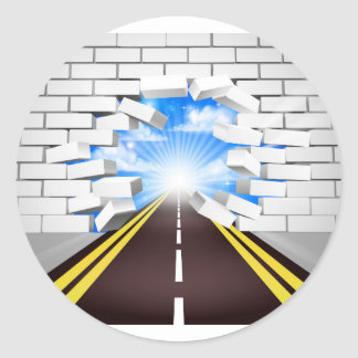 Road Breaking Wall Concept Round Sticker