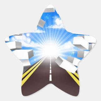 Road Breaking Wall Concept Star Sticker