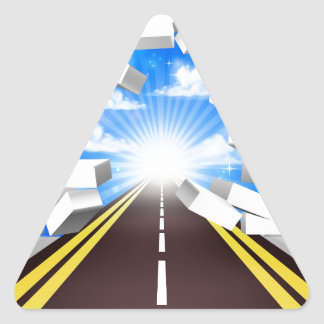 Road Breaking Wall Concept Triangle Sticker