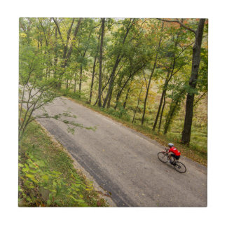 Road Cycling On Rural Country Road Small Square Tile