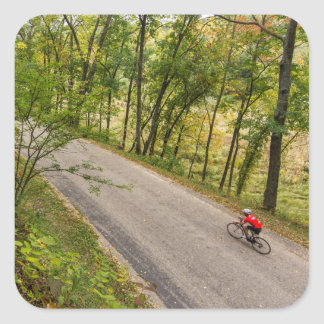 Road Cycling On Rural Country Road Square Sticker