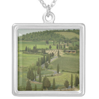 Road from Pienza to Montepulciano, Silver Plated Necklace
