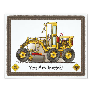Road Grader Construction Kids Party Invitation
