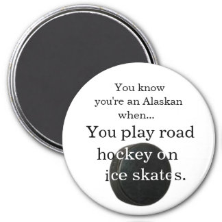 Road hockey... 7.5 cm round magnet