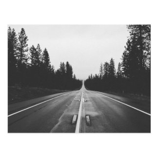 Road in black and white postcard
