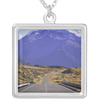 Road into Mount Cook National Park, New Zealand Silver Plated Necklace
