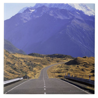 Road into Mount Cook National Park, New Zealand Large Square Tile