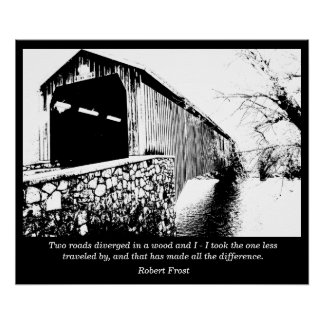 Road less traveled - Frost quote - art print