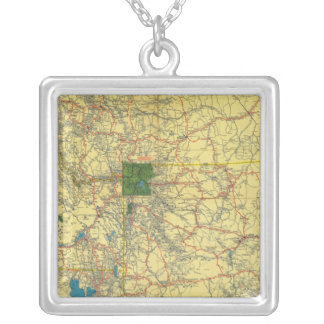 Road map Idaho, Mont, Wyo map Silver Plated Necklace