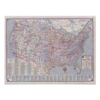 Road map United States Poster