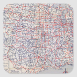 Road map United States Square Sticker