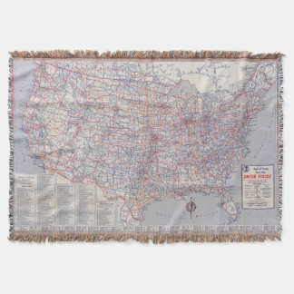 Road map United States Throw Blanket