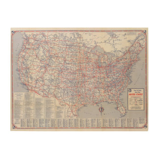 Road map United States Wood Wall Art