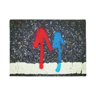 Road Marking Paint - Red Blue Arrows Doormat