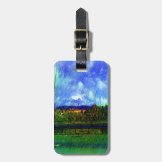 Road nature painting photo luggage tag