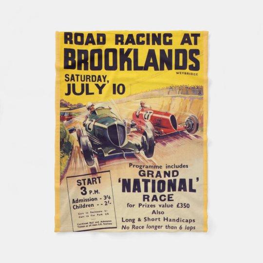 Road Racing at Brooklands Poster Fleece Blanket