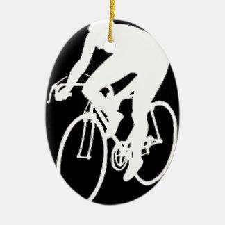 """Road racing cyclist"" Christmas Ornament"