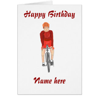 Road Racing Cyclist, man, add name front Card
