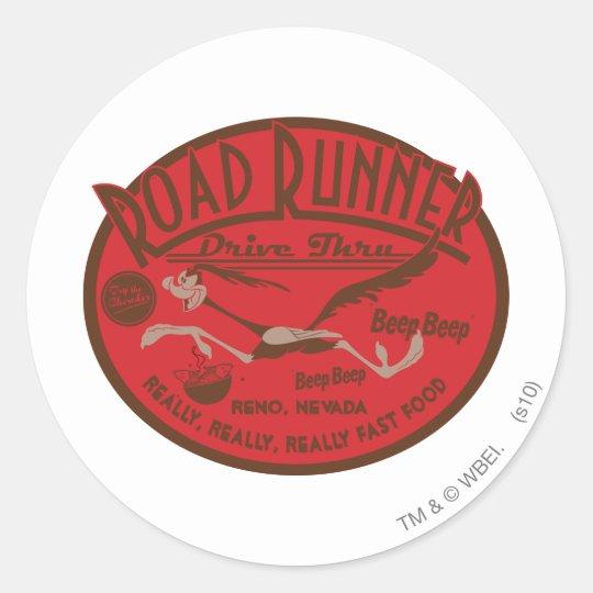 ROAD RUNNER™ Drive Thru 2 Round Sticker